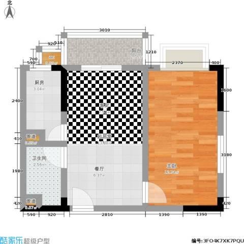 华安水岸立方1室0厅1卫1厨52.00㎡户型图