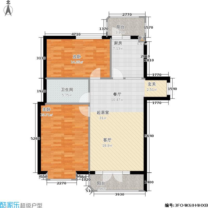 塞纳欧香国际公寓一单元 二室一厅 总建筑面积96.80㎡户型