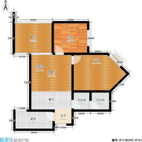 新界长安2室0厅2卫1厨76.00㎡户型图