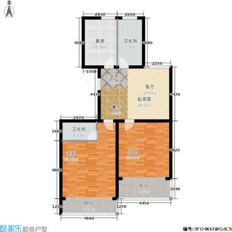 华夏春晓二期2室0厅2卫1厨112.00㎡户型图