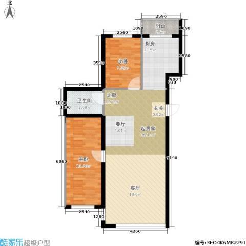 星河国阅公馆2室0厅1卫1厨99.00㎡户型图