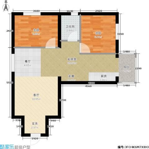 星河国阅公馆2室0厅1卫0厨76.00㎡户型图