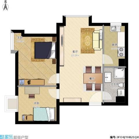 新兴中山八号2室1厅1卫1厨89.00㎡户型图