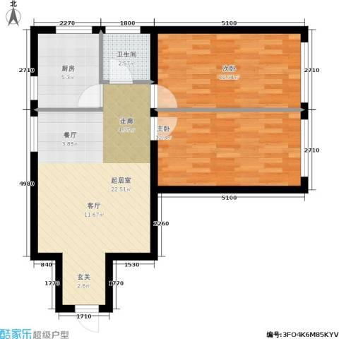 星河国阅公馆2室0厅1卫1厨78.00㎡户型图