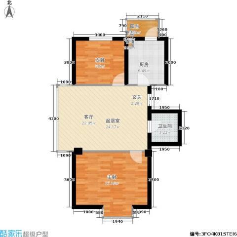 秀水馨园2室0厅1卫1厨69.50㎡户型图