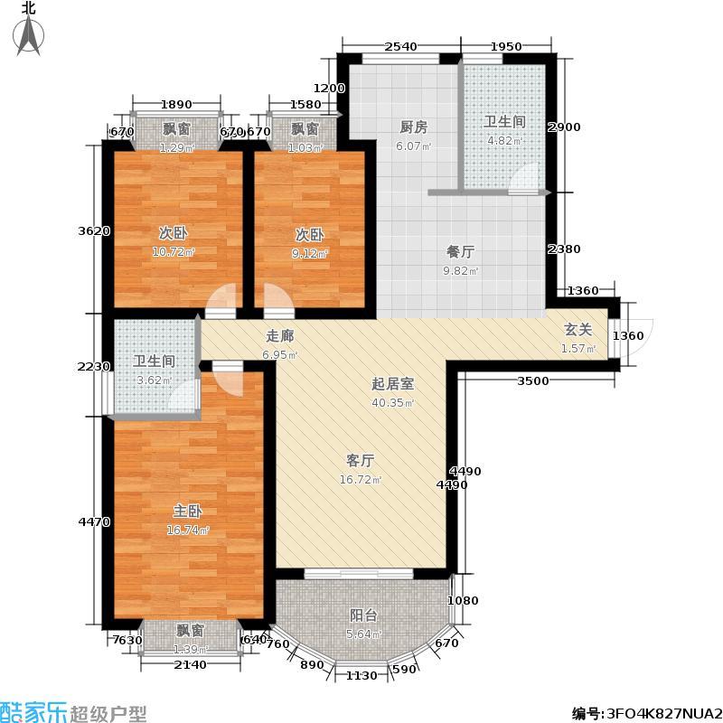 天地新城户型3室2卫