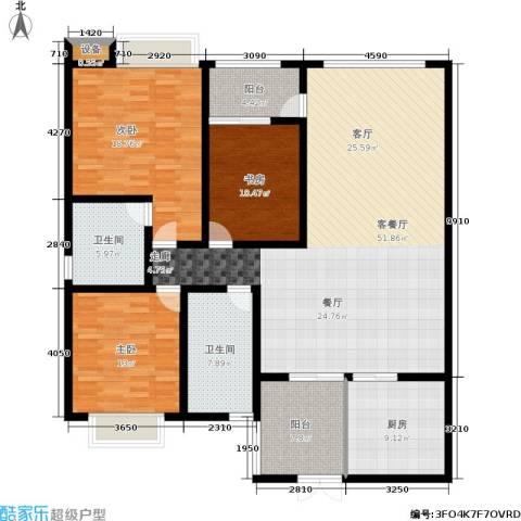 西双十贰城3室1厅2卫1厨184.00㎡户型图