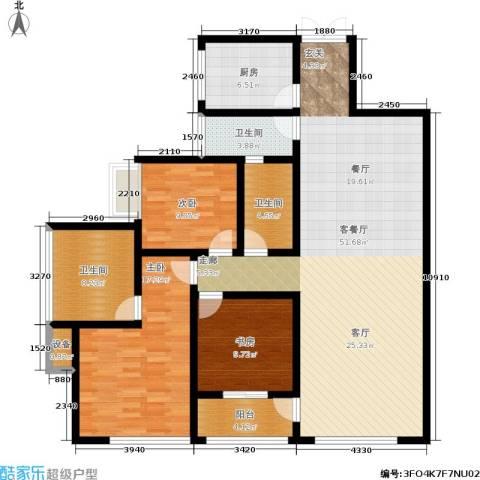 西双十贰城3室1厅3卫1厨166.00㎡户型图