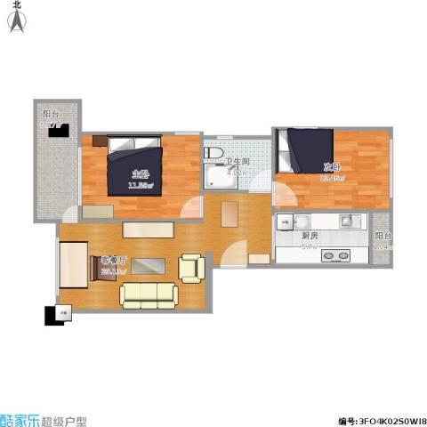 海安园2室1厅1卫1厨80.00㎡户型图