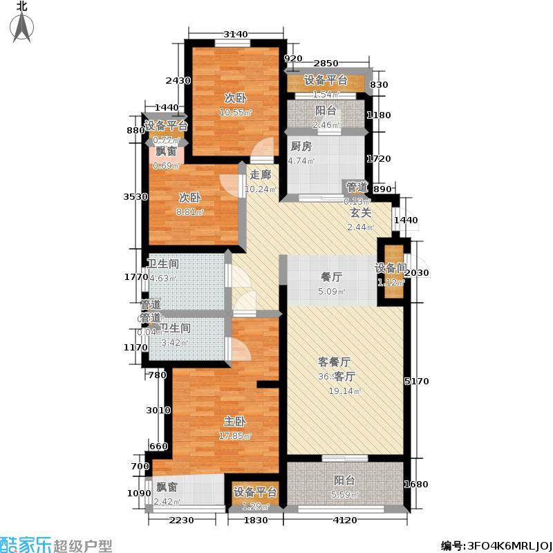 中建凤栖第126.00㎡4#楼C2户型三室两厅两卫户型3室2厅2卫