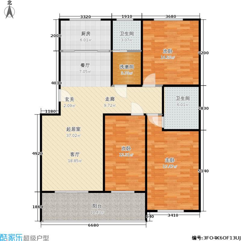 幸福花苑130.00㎡三室两厅两卫 A户型3室2厅2卫