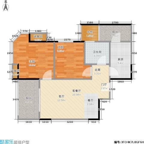 三明碧桂园2室1厅1卫1厨70.00㎡户型图