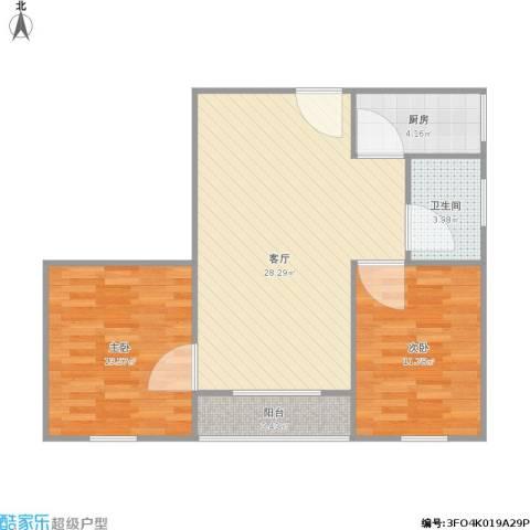 商业大厦2室1厅1卫1厨88.00㎡户型图