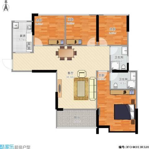 新世纪领居4室1厅2卫1厨136.00㎡户型图