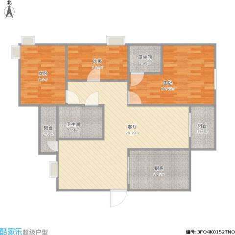 嘉和苑3室1厅2卫1厨113.00㎡户型图