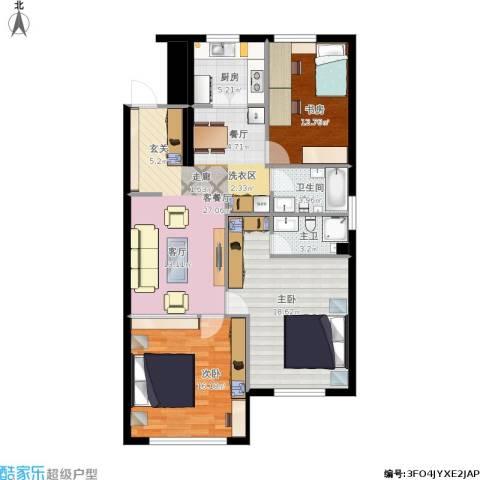 半山公馆3室1厅1卫1厨119.00㎡户型图