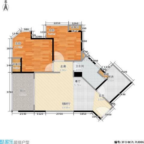三明碧桂园2室1厅1卫1厨69.00㎡户型图