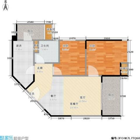 三明碧桂园2室1厅1卫1厨71.00㎡户型图