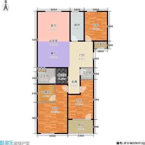 朗诗国际街区3室0厅2卫1厨114.80㎡户型图