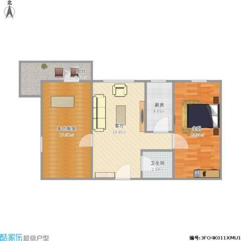 西坝河西里1室1厅1卫1厨90.00㎡户型图