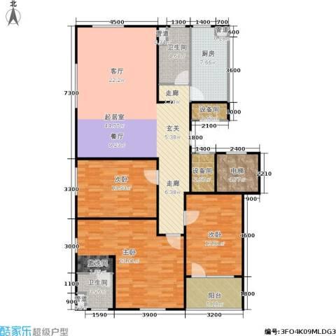 朗诗国际街区3室0厅2卫1厨126.37㎡户型图