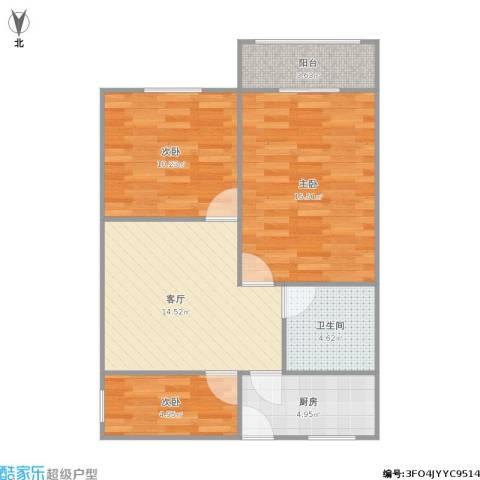 中山北路1243弄小区3室1厅1卫1厨78.00㎡户型图