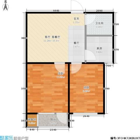 枫丹白露2室1厅1卫1厨65.00㎡户型图