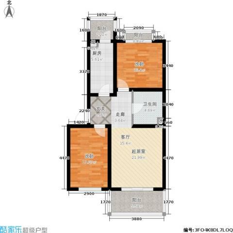 东港生活城2室0厅1卫1厨74.00㎡户型图