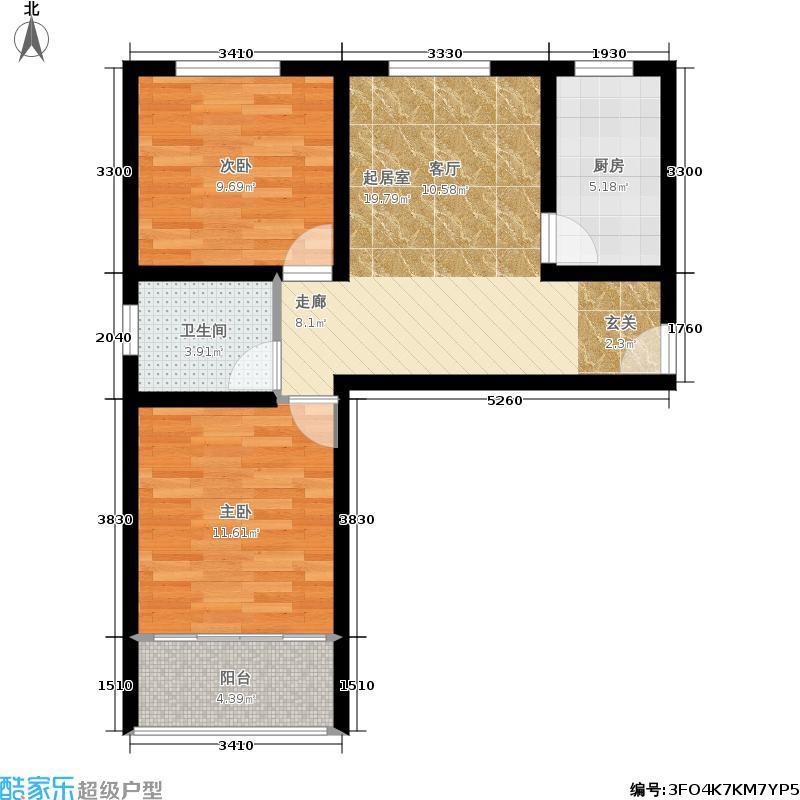 太行水乡度假小区62.00㎡两室一厅一卫 62平米户型2室1厅1卫