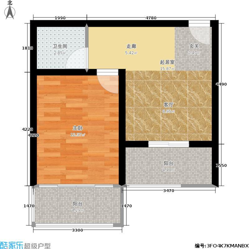 太行水乡度假小区44.00㎡一室一厅一卫 44平米户型1室1厅1卫