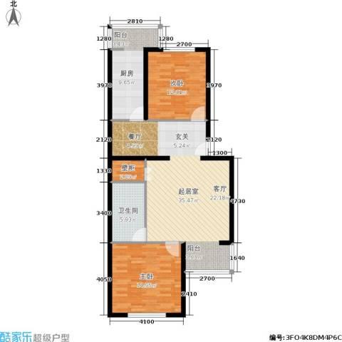 都市T站2室0厅1卫1厨90.00㎡户型图