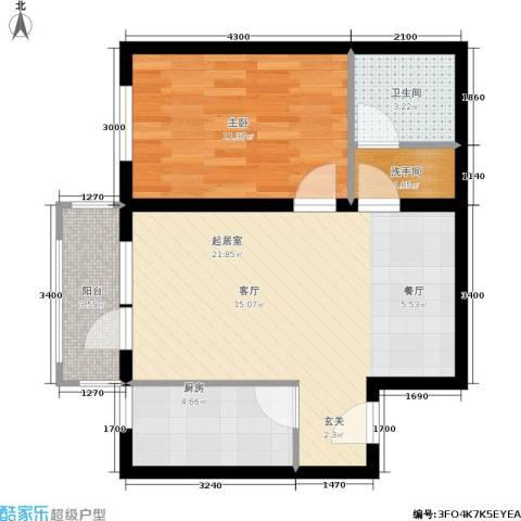 太原君泰风尚国际1室0厅1卫1厨69.00㎡户型图