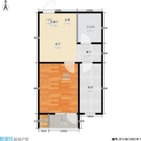 枫丹白露1室1厅1卫1厨50.00㎡户型图