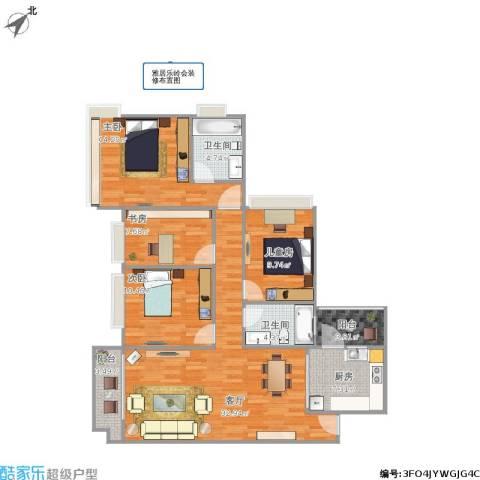 雅居乐岭会4室1厅2卫1厨134.00㎡户型图