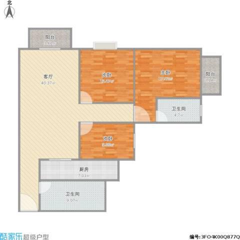 香晖园3室1厅2卫1厨145.00㎡户型图
