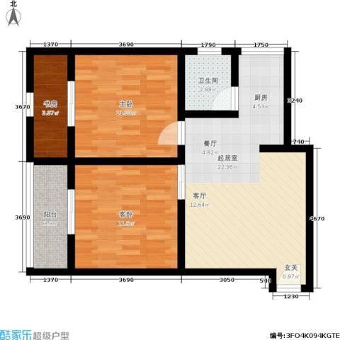 黄桷印象3室0厅1卫0厨67.00㎡户型图