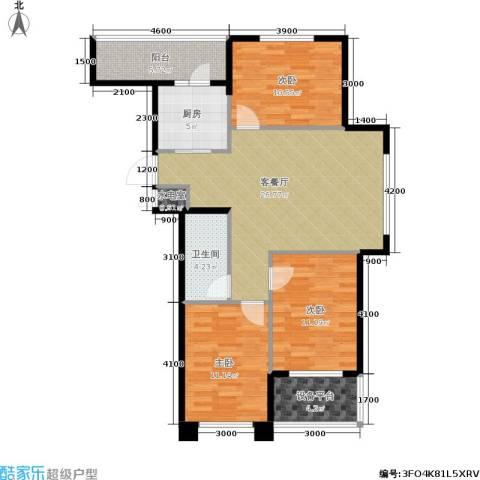 中央华府3室1厅1卫1厨100.00㎡户型图