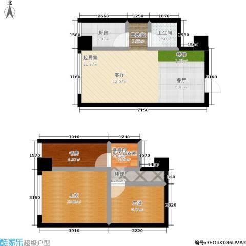 银河国际住宅2室0厅1卫1厨78.00㎡户型图