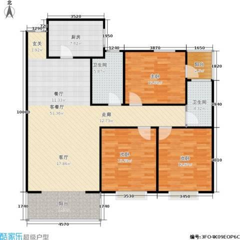 白龙嘉和丽景3室1厅2卫1厨147.00㎡户型图
