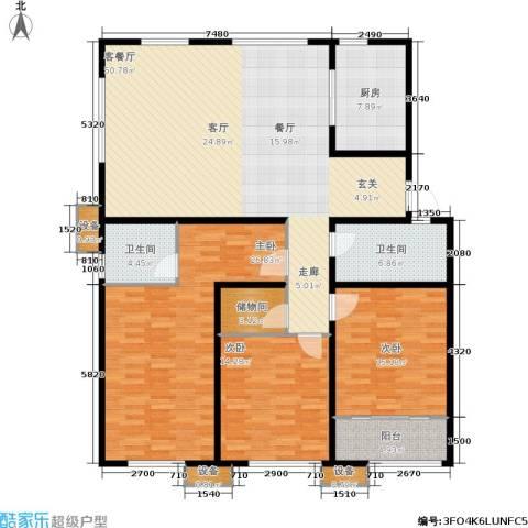 大舜天成中国盒子3室1厅2卫1厨189.00㎡户型图