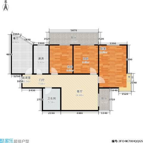 泊阑地3室1厅1卫1厨107.00㎡户型图