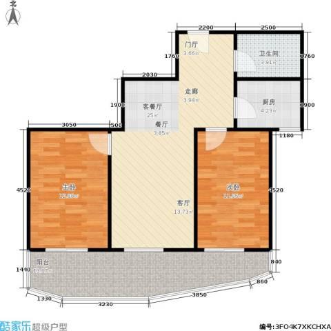 泊阑地2室1厅1卫1厨78.00㎡户型图