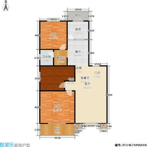 曲江汇景新都3室1厅1卫1厨130.00㎡户型图