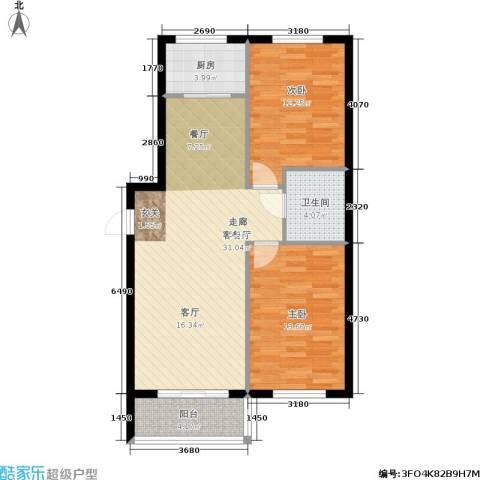 泰和轩2室1厅1卫1厨77.00㎡户型图