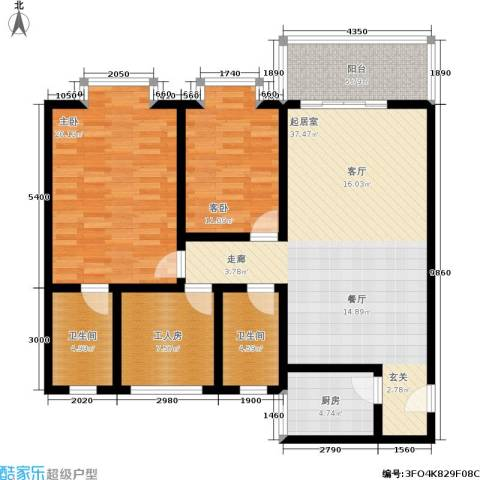 学府佳园2室0厅2卫1厨140.00㎡户型图