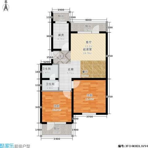 德邑新时空2室0厅2卫1厨94.00㎡户型图