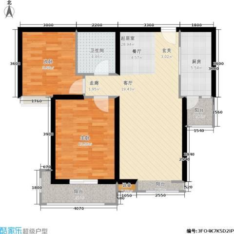 太原君泰风尚国际2室0厅1卫1厨102.00㎡户型图
