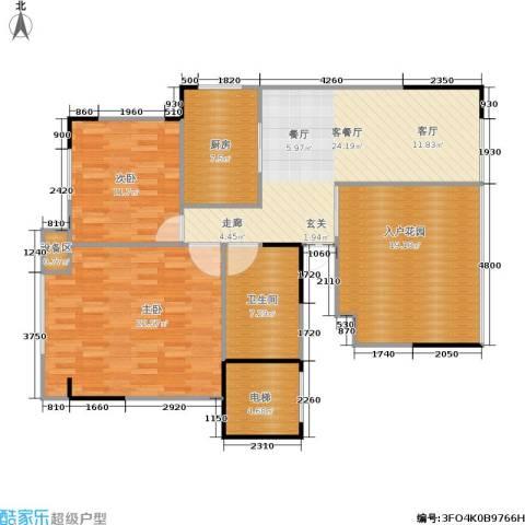 竹韵山庄2室1厅1卫1厨131.00㎡户型图