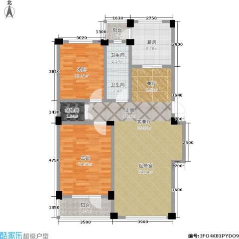 鹏辉新天居2室1厅2卫1厨114.00㎡户型图