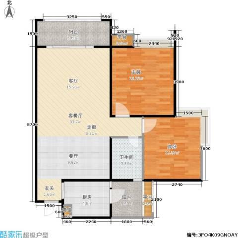园丁梦苑2室1厅1卫1厨77.22㎡户型图